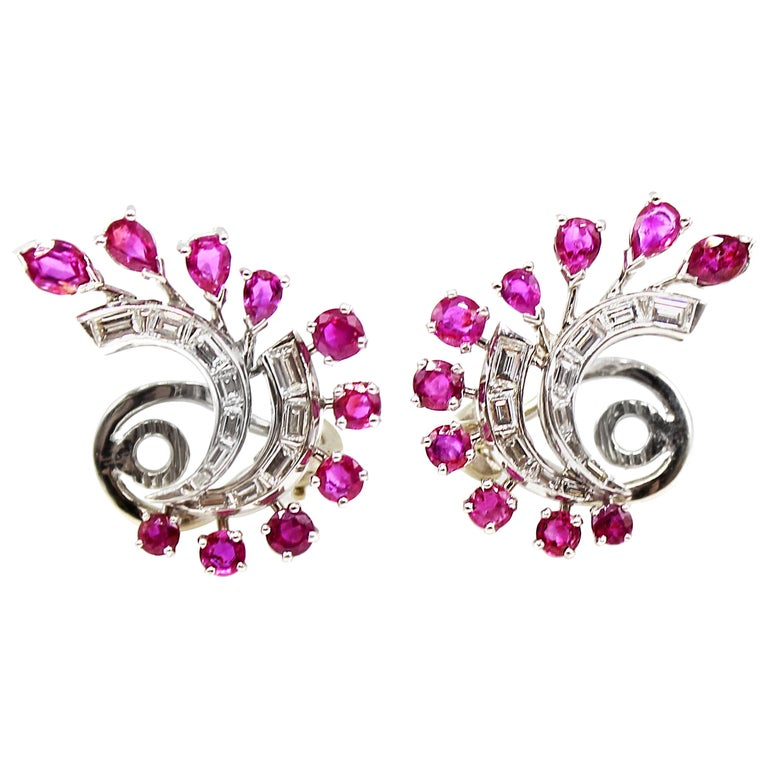 1960s White Gold Ruby Diamond Ear Clips For Sale