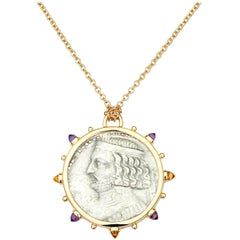 Dubini King of Parthia Ancient Silver Coin Medallion 18 Karat Gold Necklace