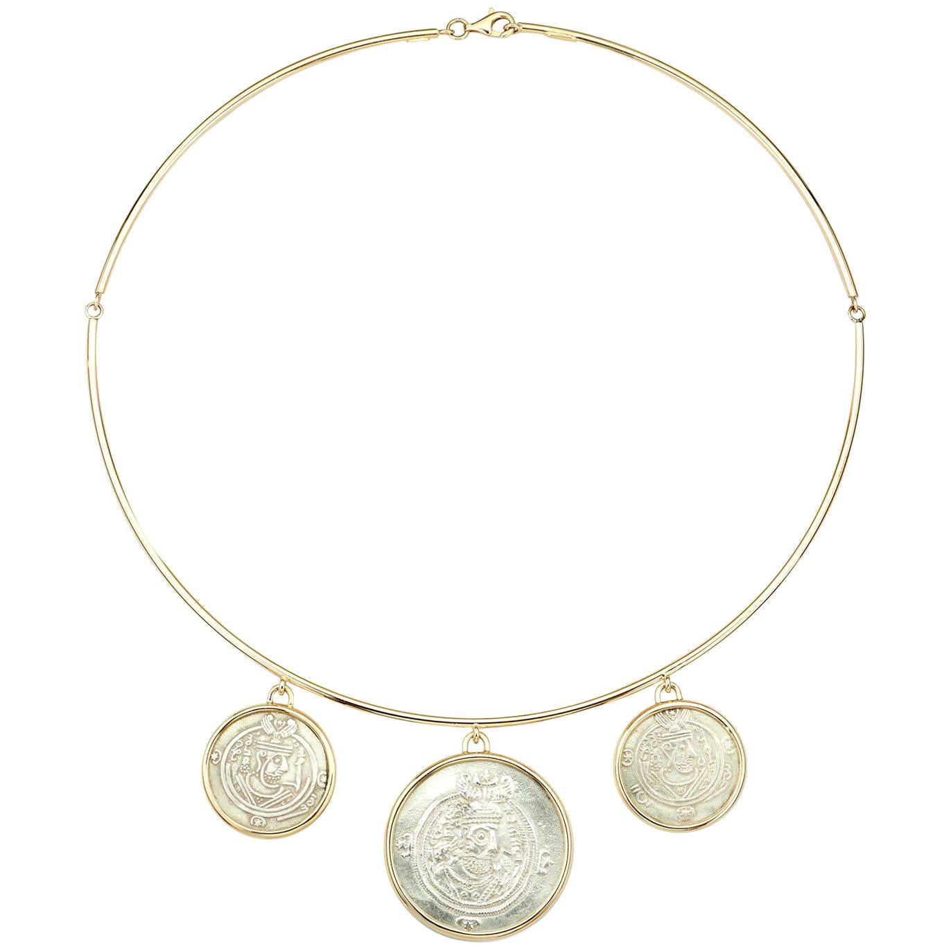 Dubini Ancient Governors of Tabaristan Silver Coin 18 Karat Yellow Gold Necklace