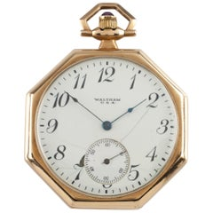 Waltham Octagon Antique 14 Karat Open Face Pocket Watch Gr 225 12S 17 Jewel