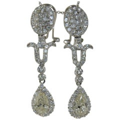 Fancy Pear Shape Diamond Drop Earrings 1.72 Carat
