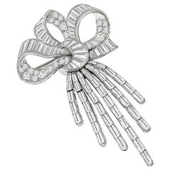 1950s Diamond Platinum Bow Pin or Pendant