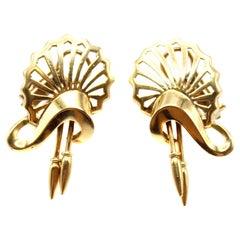 Retro 18 Karat Yellow Gold Earrings