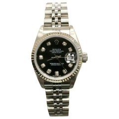 Rolex Ladies Datejust 79174 Black Diamond Dial Stainless and 18K Box & Papers
