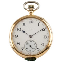 Elgin Open Face 14 Karat Yellow Gold Antique Pocket Watch Gr 315 12s 15 Jewel