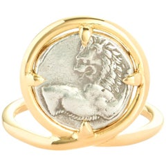 Dubini Chersonesos Lion Ancient Authentic Silver Coin 18 Karat Yellow Gold Ring