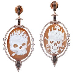 Skull Cameo Earrings in Gold and Diamonds