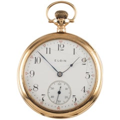 Elgin Open-Face 14 Karat Gold Antique Pocket Watch Gr 364 12S 15J 1910
