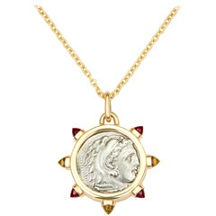Dubini Alexander the Great Silver Coin Pendant Garnet Citrine 18K Gold Necklace