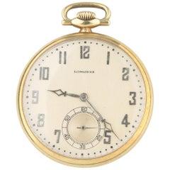Longines 17-Jewel Vintage 14 Karat Yellow Gold Pocket Watch Open Face 1927