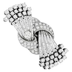 Mid-20th Century Diamond Platinum Pin or Clips