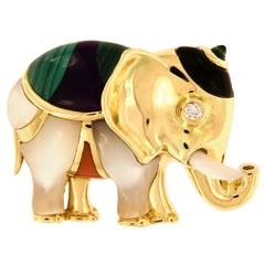 Asch Grossbardt 18 Karat Yellow Gold Elephant Brooch