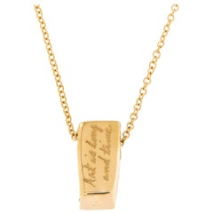 For an art lover, Scripted Gold Bar Pendant Chain Necklace