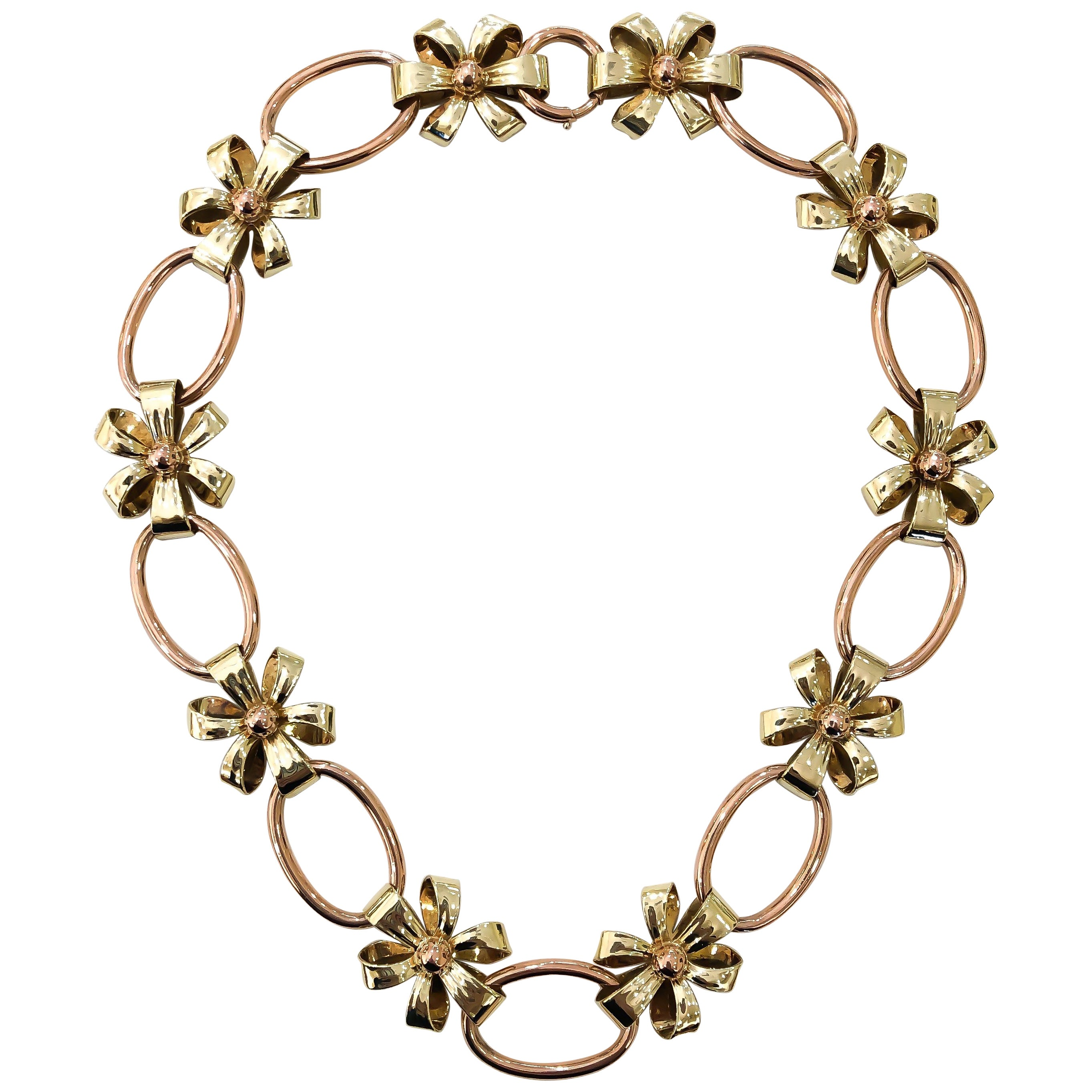Tiffany & Co. Rose and Yellow Gold 14 Karat Flower Necklace