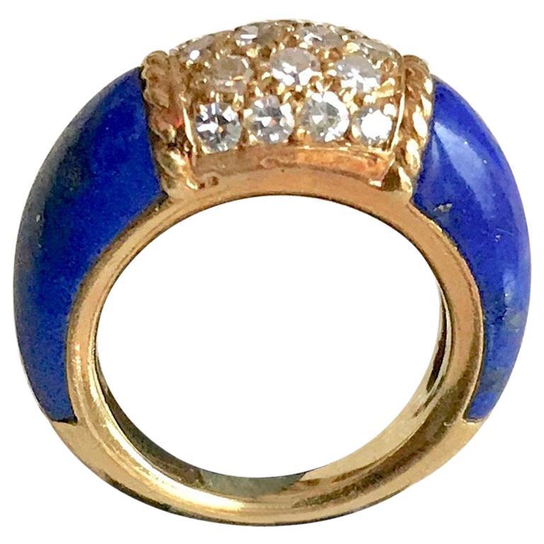 Van Cleef & Arpels Philippine Ring, 18 Carat Gold Diamonds and Lapis Lazuli