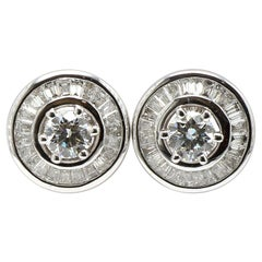 Contemporary 18 Karat White Gold Solitaire Diamonds Studs with Baguette Jackets