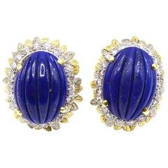 1980s Lapis Lazuli Diamond Two-Color Gold Ear Clips