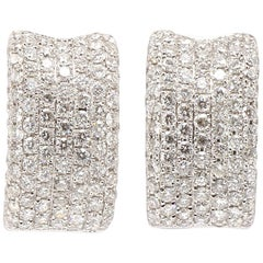 Contemporary 18 Karat White Gold Pave Diamond Hoop Style Earrings