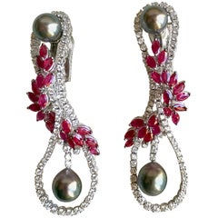 Mouawad Dangle Earrings 6 Carats Diamonds and 11 Carats Rubies