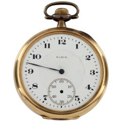 Elgin Open Face 14 Karat Yellow Gold Antique Pocket Watch Gr 345 12S 17J 1920