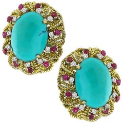 Turquoise Ruby Diamond Gold Earrings