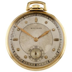 Waltham Colonial R Open Face 14 Karat Yellow Gold Vintage Pocket Watch
