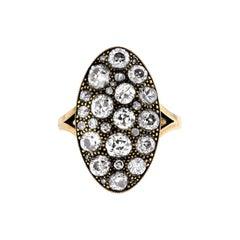 2.96 Carat Moval Cobblestone Diamond Ring