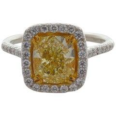 3.01 Carat Cushion Cut, Natural Fancy Yellow Diamond Ring 18 Karat Gold