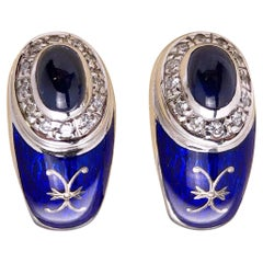 Faberge 18 Karat Gold Diamond Cabochon Sapphire and Enamel Earrings, Certificate