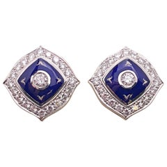 Modern Faberge Diamond Prussian Blue Enamel Earrings