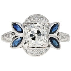 Art Deco 18 Karat White Gold 1.16 Carat Old Mine Cut Diamond and Sapphire Ring