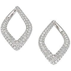 Modernist Triangular Diamond Earrings Set in 18 Carat White Gold