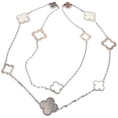 Van Cleef & Arpels Magic White and Grey Mother of Pearl White Gold Necklace