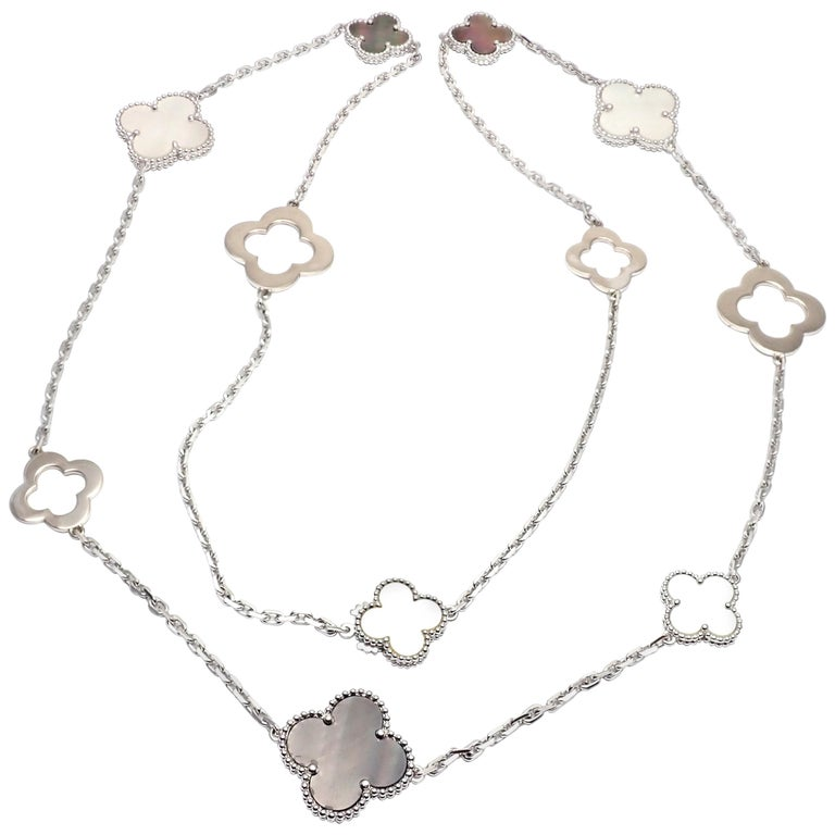 Van Cleef & Arpels Magic White and Grey Mother of Pearl White Gold Necklace For Sale