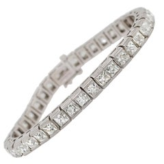 Contemporary French Cut Diamond Line Bracelet 20.00 Carat