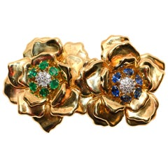 18 Karat Emis Beros Double Flower Brooch with Diamonds, Emeralds and Sapphires