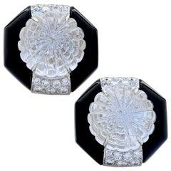 Charles Turi Carved Rock Crystal, Onyx and Diamond 18 Karat Yellow Gold Earrings