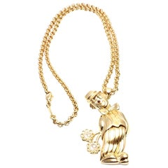 Chopard Large Happy Clown with Flowers Yellow Gold Pendant Necklace