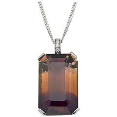 Ametrine or Cognac Quartz 57 Carat Pendant Necklace with Diamond Detail
