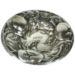 Victorian Sterling Apple Motif Dish, Alvin