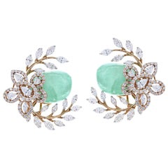 Emerald and Diamond Floral and Leaf Earrings, 18K Gold