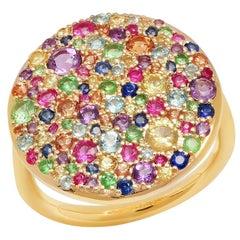 Rainbow Cluster Ring 1.85 Carat Approximate, 14 Karat Gold, Ben Dannie