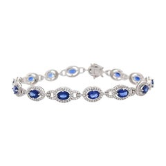9.04 Carat Total Oval Blue Sapphire and Diamond Bracelet in 18 Karat White Gold