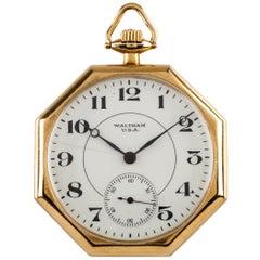 Waltham Octagon 14 Karat Gold Antique Open Face Pocket Watch Gr 235 12S 17J
