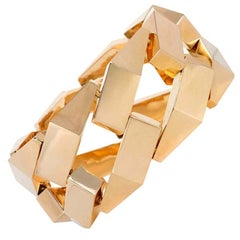 Retro French Gold Faceted Curb Link Bracelet