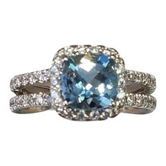 18 Karat White Gold Cushion Cut Aquamarine and Diamond Ring