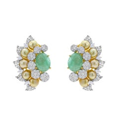 Curved Emerald, Diamond, and Pearl Earrings, 18 Karat Gold
