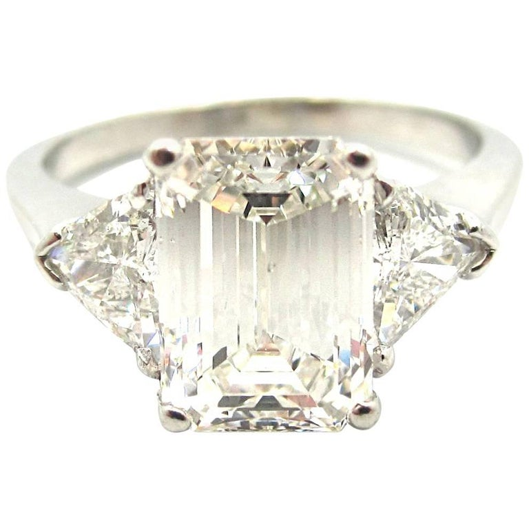 Classic GIA Certified 2 01 Carat Emerald Cut Diamond Three Stone Engagement R