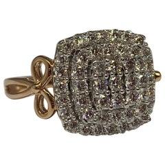 14 Karat Rose Gold 1.00 Carat Total Weight Diamond Cluster Cocktail Ring