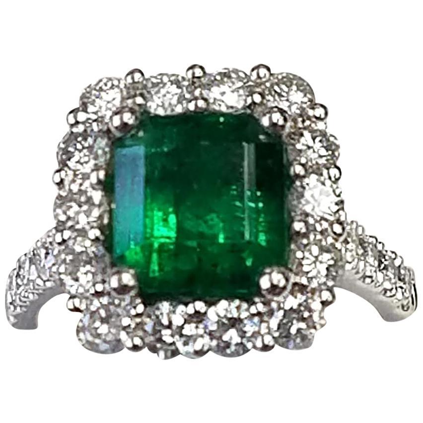 Platinum Emerald Cut Emerald and Diamond Ring